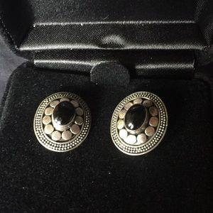 Onyx and silver pierced earrings